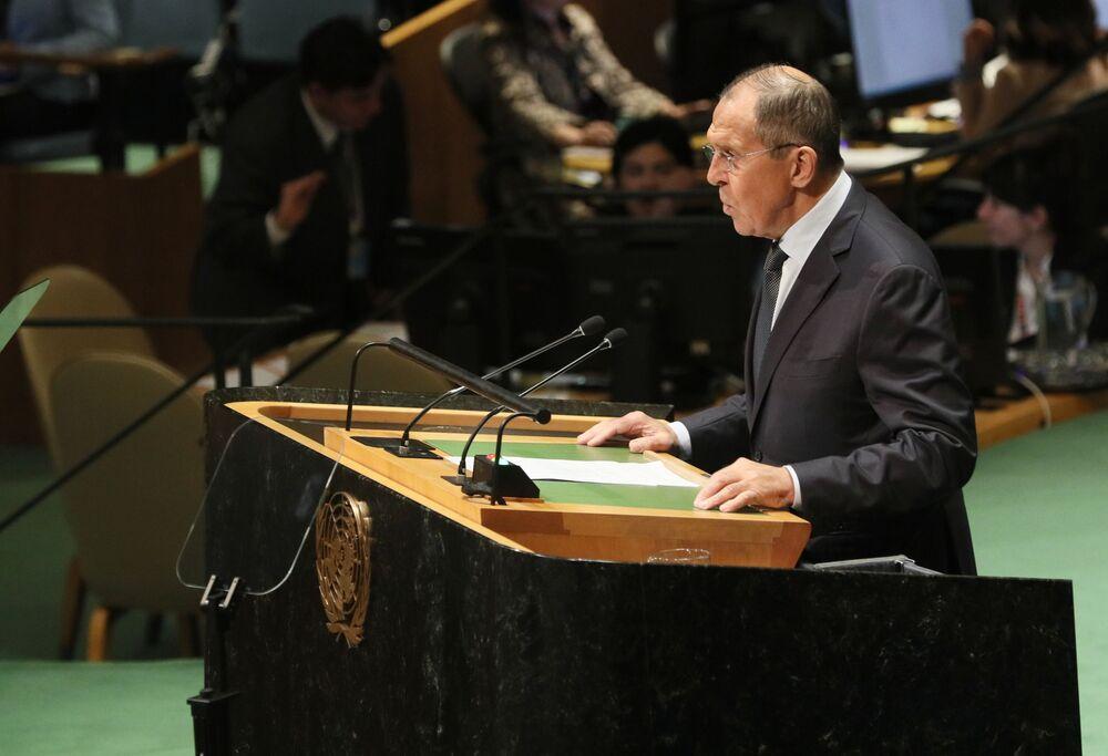 Ruský ministr zahraničí Sergej Lavrov při proslovu na 74. zasedání Valného shromáždění OSN v New Yorku