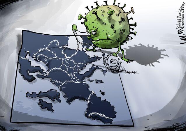 Karikatura: Pandemie COVID-19 zpochybnila nápad globalizace