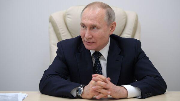 Ruský prezident Vladimir Putin během návštěvy nemocnice v Kommunarce, kde se budou léčit lidé nakažení COVID-19. - Sputnik Česká republika