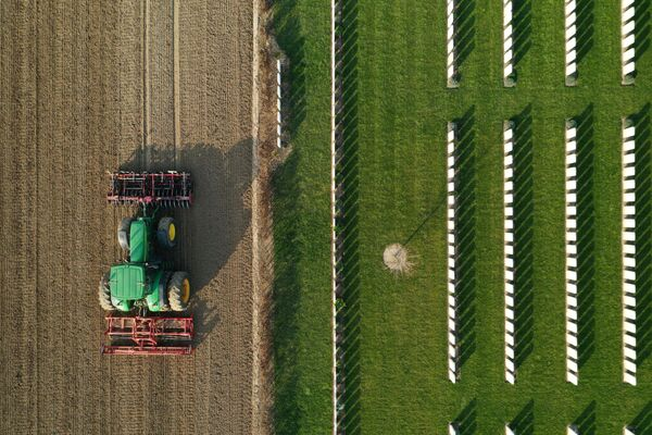 Farmář připravuje půdu pro setí cukrové řepy. Anneux, Francie  - Sputnik Česká republika