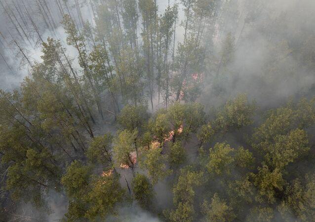 Požár v uzavřené zóně Černobylské jaderné elektrárny