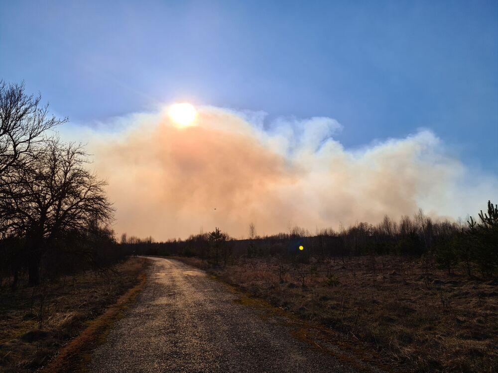 Hořící les v Černobylské uzavřené zóně