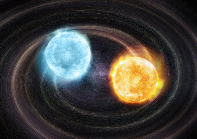 Koncept binárního systému bílých trpaslíků J2322 + 0509.