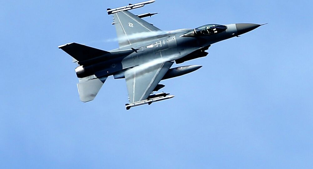 A US military fighter jet participates in a NATO Baltic Air Policing Mission practice mission near Estonia.