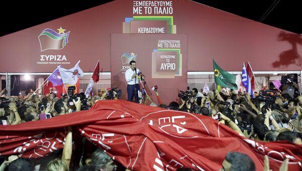 Alexis Tsipras vystupuje před stoupenci Syrizy - Sputnik Česká republika