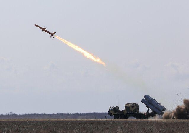 Start ukrajinské rakety RK-360MC Neptun