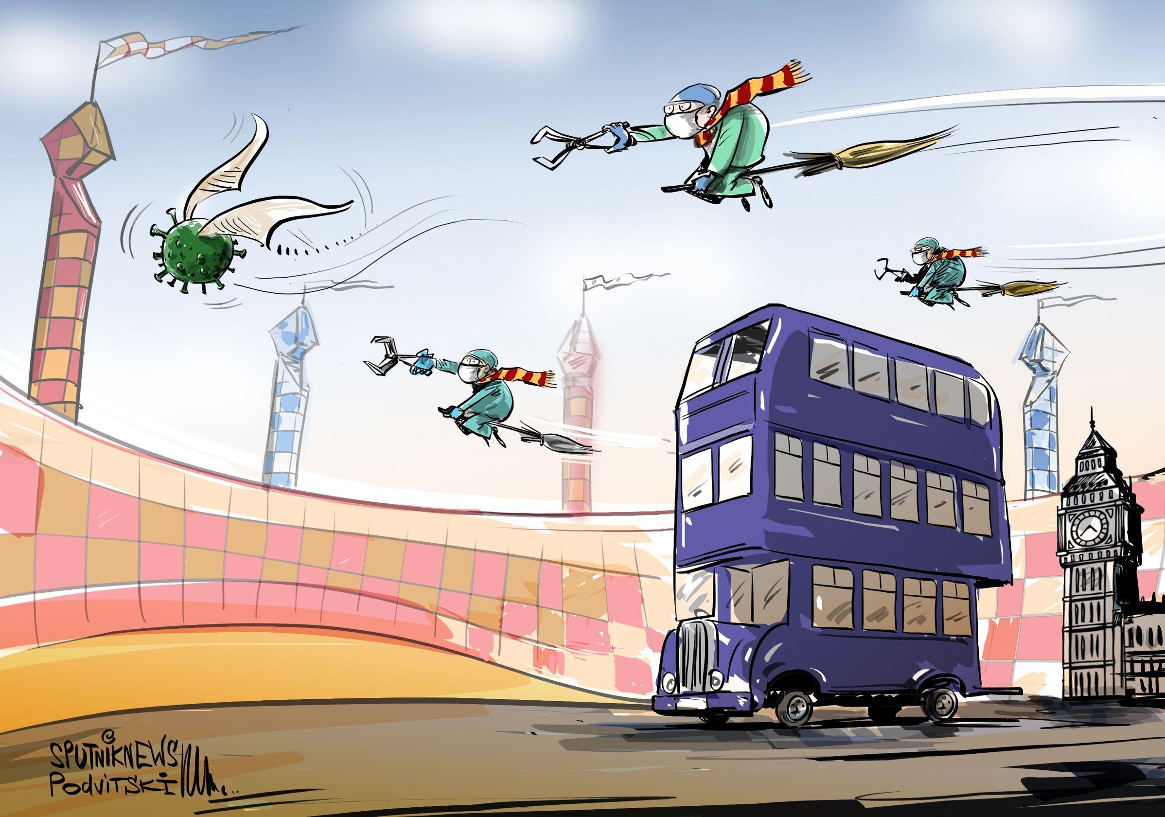 Britští lékaři jsou v Londýně přepravováni kouzelnými autobusy