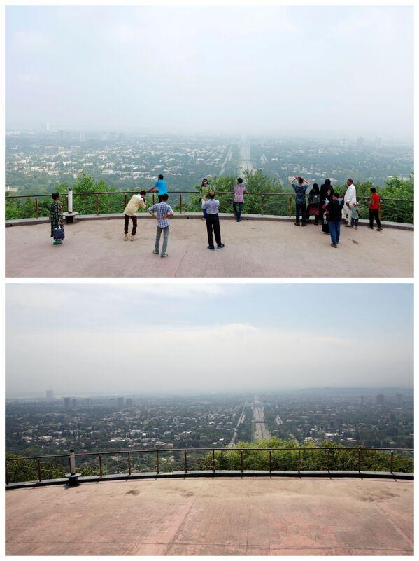 Pohled z vyhlídkové terasy v Islámábádu 3. srpna 2017 a 20. dubna 2020 - Sputnik Česká republika