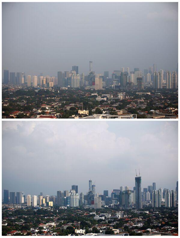 Pohled na budovy v Jakartě 4. července 2019 a 16. dubna 2020 - Sputnik Česká republika