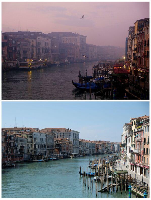 Pohled na Canal Grande v Benátkách 6. ledna 2018 a 17. dubna 2020 - Sputnik Česká republika