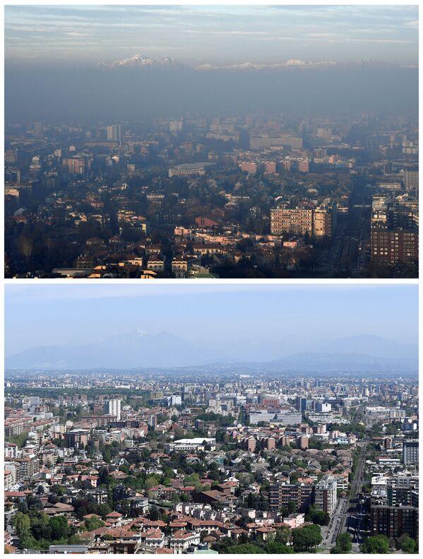 Pohled na italské Alpy v Miláně 8. ledna 2020 a 17. dubna 2020 - Sputnik Česká republika