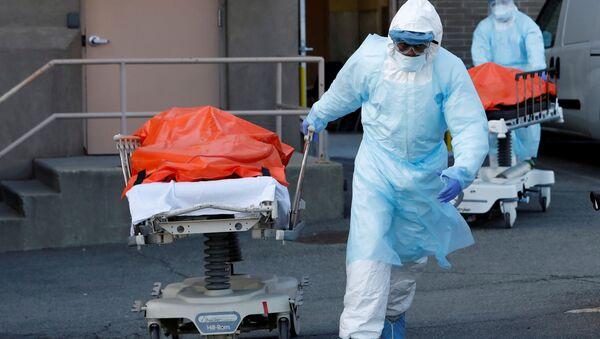 Zdravotníci převážejí mrtvá těla v lékařském centru Wyckoff Heights v New Yorku - Sputnik Česká republika
