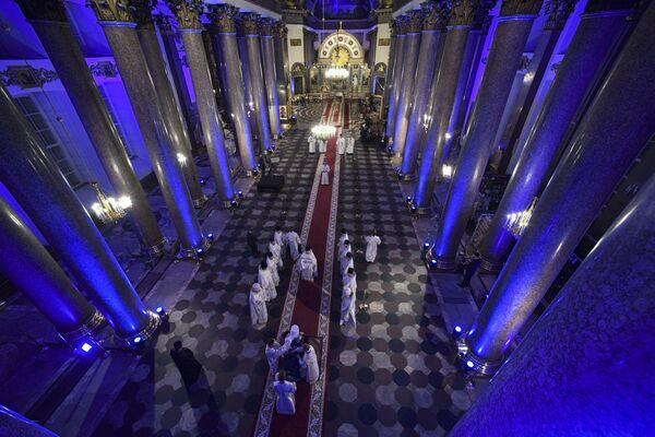 Velikonoční bohoslužba v Katedrále Panny Marie Kazaňské  - Sputnik Česká republika