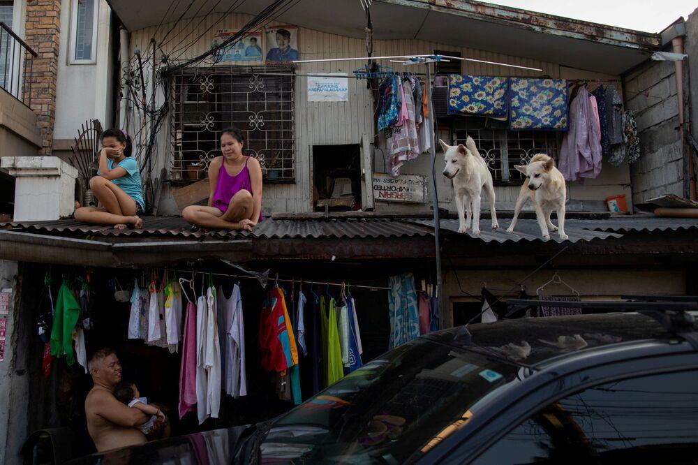 Dívky se svými psy na střeše domu v Manile, Filipíny