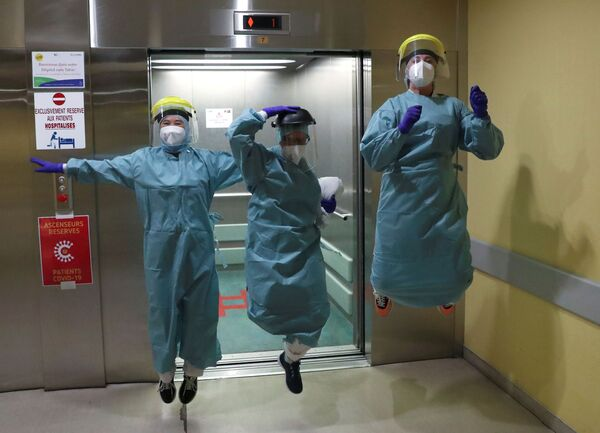 Belgičtí lékaři v nemocnici v Lutychu, Belgie - Sputnik Česká republika
