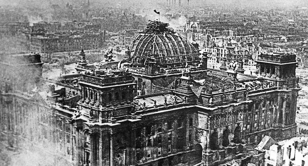 Prapor vítězství nad Reichstagem. 1. května 1945