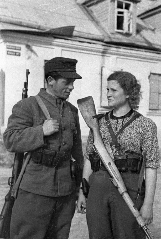 Litevští partyzáni ve Vilniusu během války, 1944