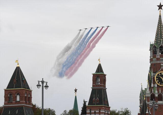 Su-25 během letecké přehlídky nad Moskvou