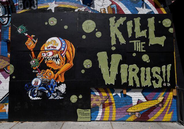 Graffiti na zdi uzavřené restaurace Evel Pieve v Las Vegasu