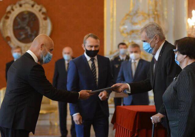 Předseda Nejvyššího soudu Petr Angyalossy a prezident ČR Miloš Zeman