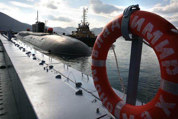 Ruská jaderná ponorka strategického zaměření Vladimir Monomach, základna Viljučinsk na Kamčatce - Sputnik Česká republika
