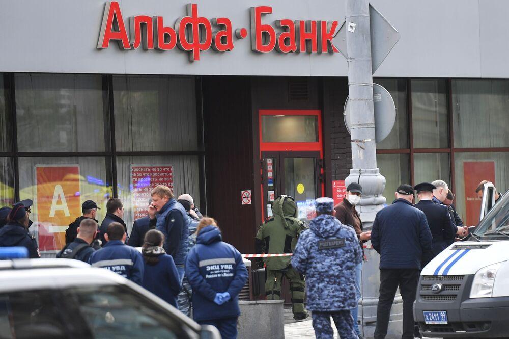 Pobočka Alfa Banky v centru Moskvy, odkud pocházela zpráva o držení rukojmích