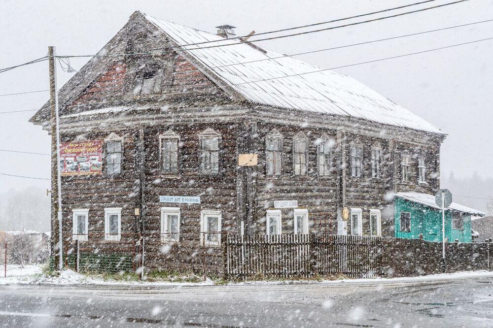 Sněžení v Karélii
