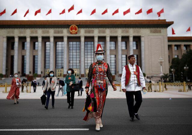 Velký sál lidu po konci zasedání Všečínského shromáždění lidových zástupců (25. 5. 2020)
