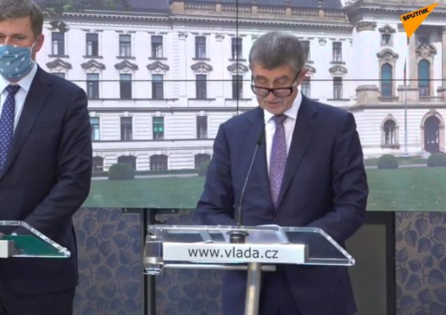 tisková konference premiéra Andreje Babiše a ministra zahraničních věcí Tomáše Petříčka