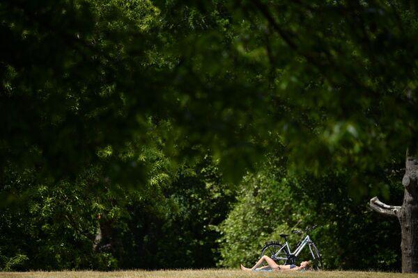 Žena se opaluje v Greenwich Parku. Londýn, Velká Británie - Sputnik Česká republika