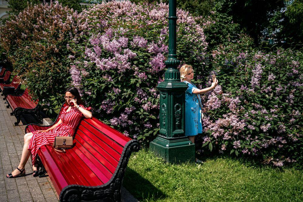 Ženy užívající si teplého a slunečného dne v parku v centru Moskvy první den poté, co Moskva zrušila řadu protikoronavirových opatření, včetně zákazu vycházení.