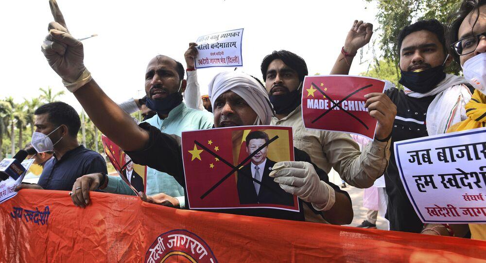 Protest proti Číně v Novém Dillí. 17. červen. 2020