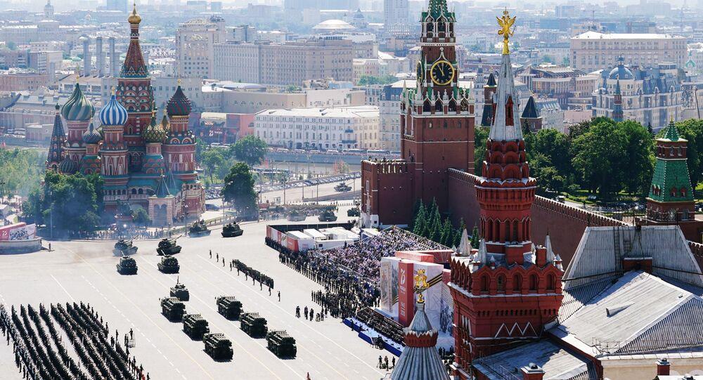 Vojenská přehlídka u příležitosti 75. výročí vítězství na Rudém náměstí