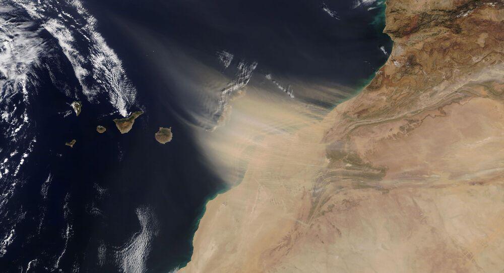 Obraz pohybu písečné bouře z pobřeží Maroka na Kanárské ostrovy