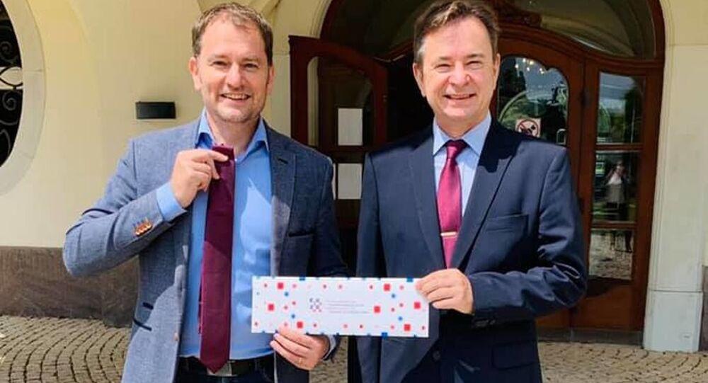 Slovenský premiér Igor Matovič a velvyslanec Chorvatska Aleksandar Heina