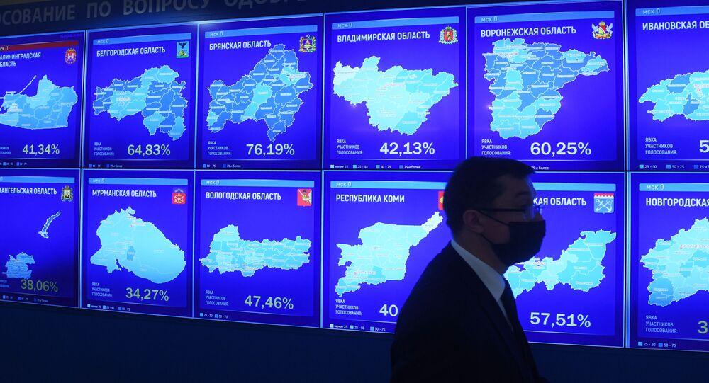 Informační tabule Ústřední volební komise Ruska