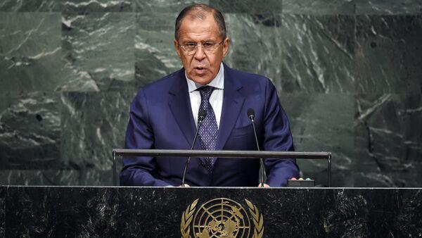 Ruský ministr zahraničních věcí Sergej Lavrov během svého vystoupení na summitu OSN o Globálním programu v oblasti rozvoje na období po roce 2015 - Sputnik Česká republika