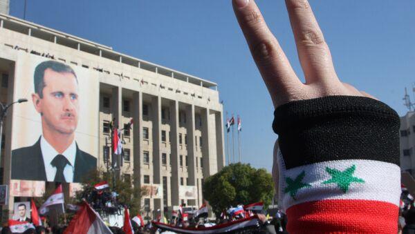 Demonstrace v Sýrii na podporu Bašára Asada - Sputnik Česká republika