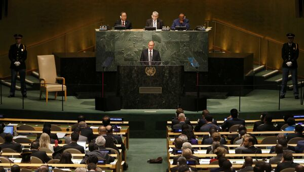 Vladimir Putin v OSN - Sputnik Česká republika