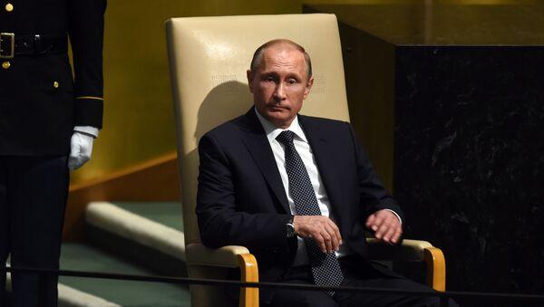 Vladimir Putin před vystoupením na Valném shromáždění OSN - Sputnik Česká republika