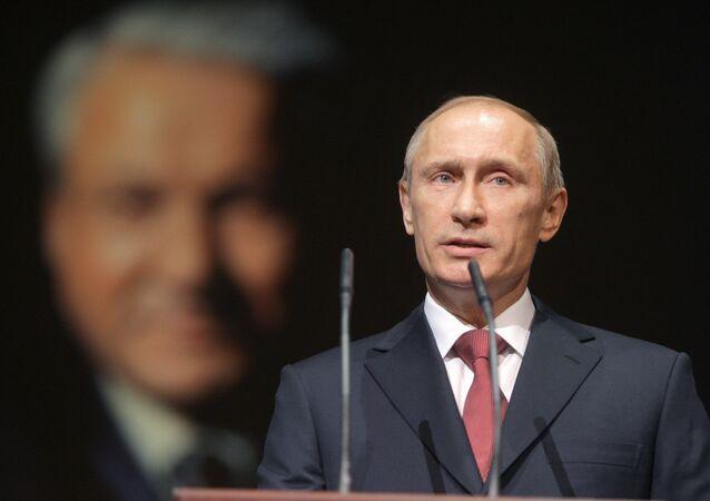 Vladimir Putin mluví na oslavách 80. narozenin Borise Jelcina