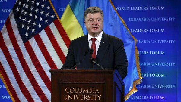 Projev ukrajinského prezidenta Petra Porošenka na Kolumbijské univerzitě - Sputnik Česká republika