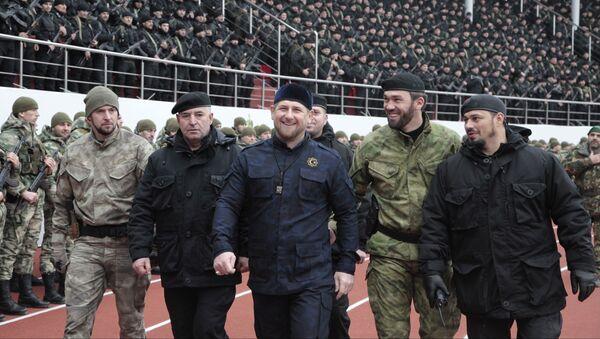 Hlava Čečni Ramzan Kadyrov na stadionu Dinamo v Groznem - Sputnik Česká republika
