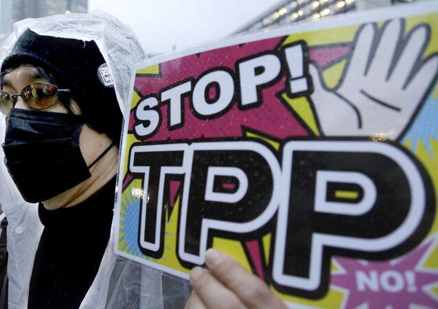 Участник протеста держит плакат во время митинга против Транс-Тихоокеанского партнерства (ТТП) в Токио