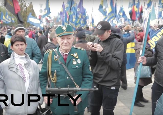 Nacionalisté uspořádali mítink v centru Kyjeva