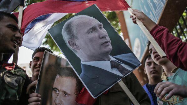 Mítink na podporu Bašára Asada a Vladimira Putina - Sputnik Česká republika