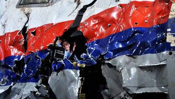 Část rekonstruovaného sestřeleného letadla Boeing 777 Malaysia Airlines, let MH17, na vojenské základně Gilze Rijen v Nizozemí  - Sputnik Česká republika