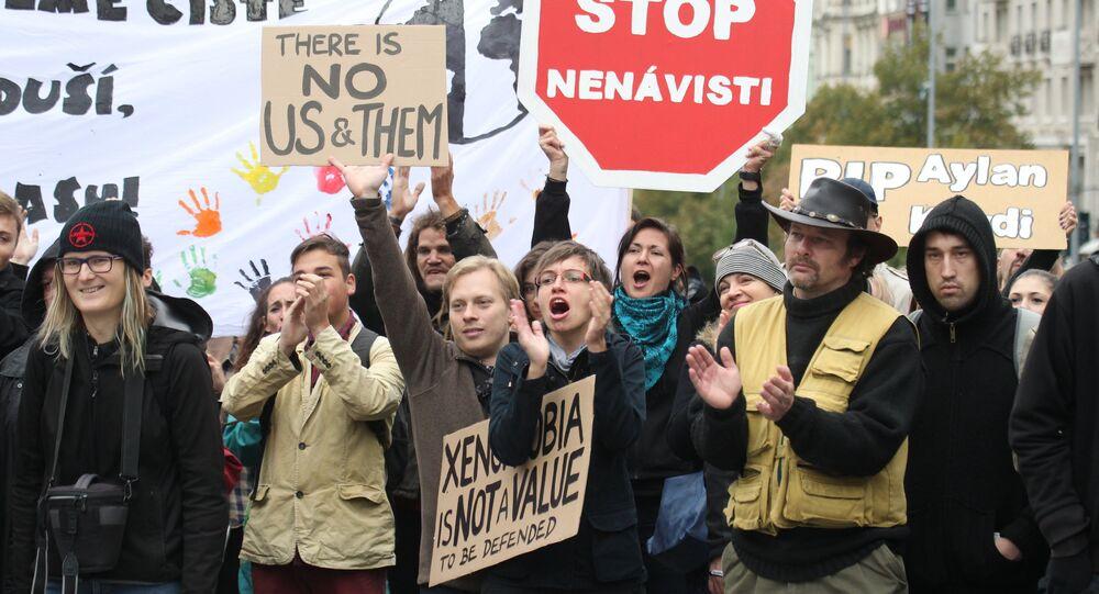 Demonstrace na podporu migrace, kterou uspořádala iniciativa Proti projevům nenávisti. Ilustrační obrázek