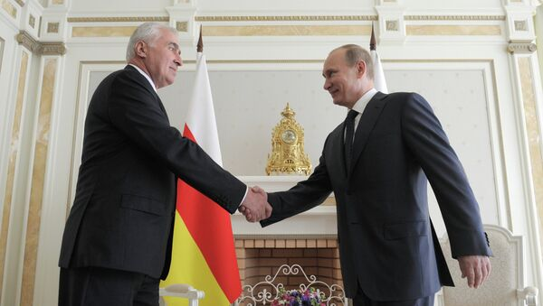 Vladimir Putin a Leonid Tibilov - Sputnik Česká republika