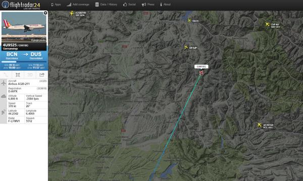 Letadlo, které na jihu Francie havarovalo, letělo z Barcelony do Düsseldorfu. - Sputnik Česká republika
